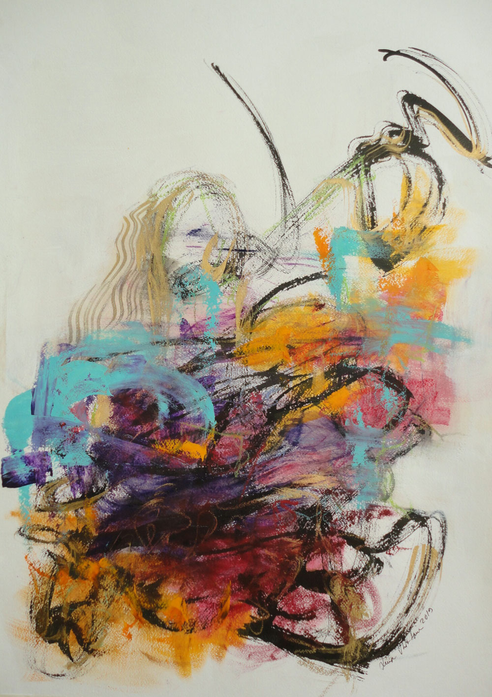 My way, 86 x 61, mixed media on paper/ available in www.taidelainaamo.fi