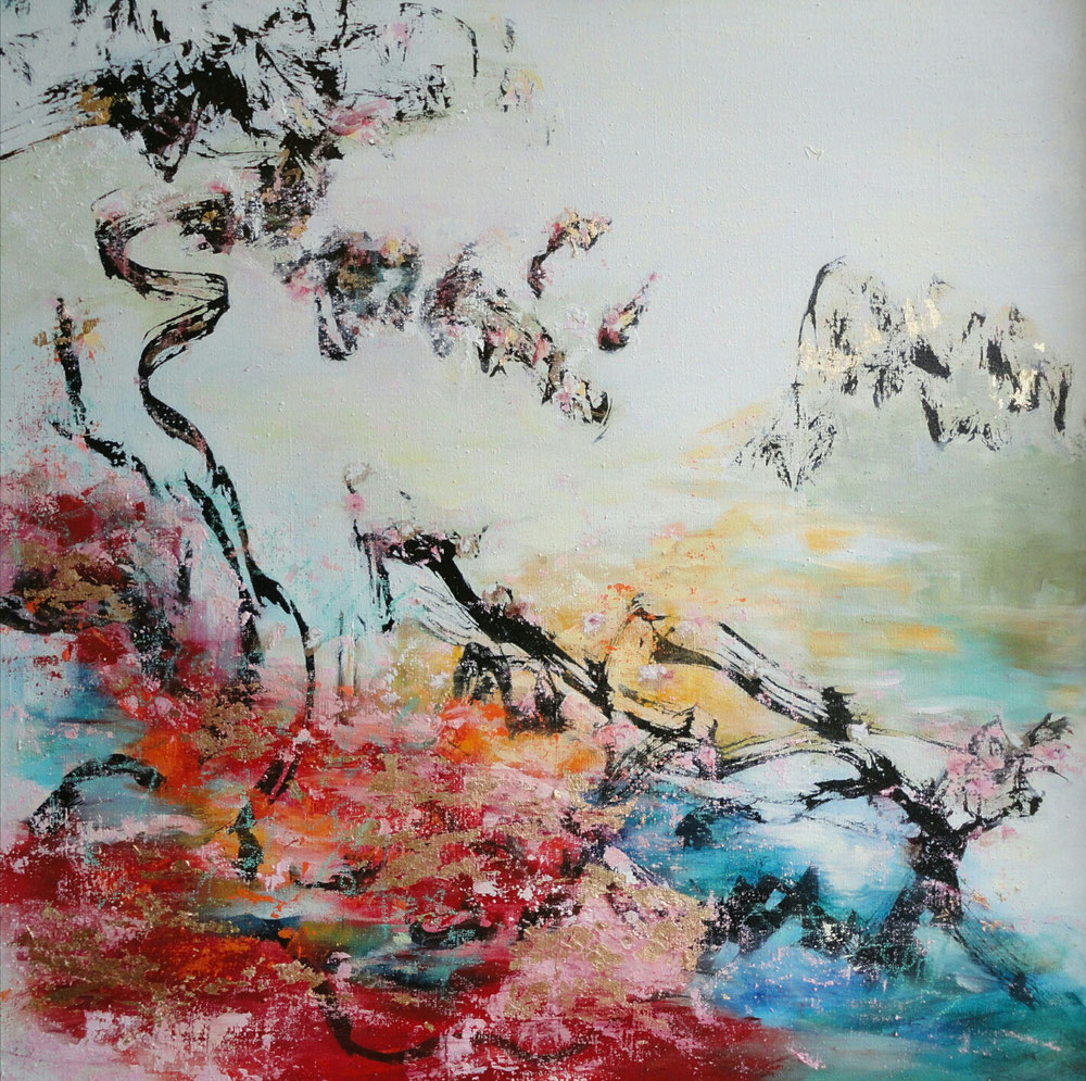 Golden Garden, 80 x 80, mixed media on canvas