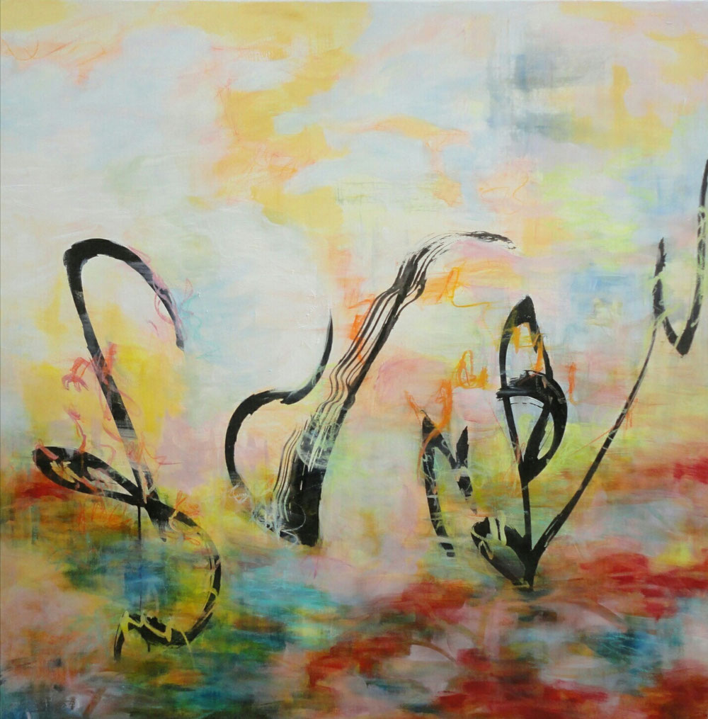 Harmony, 100 x 100, mixed media on canvas