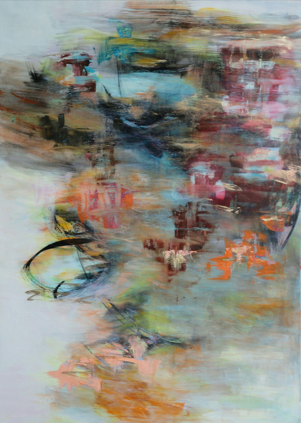 Reflections in the harbour, 105 x 75, mixed media on canvas