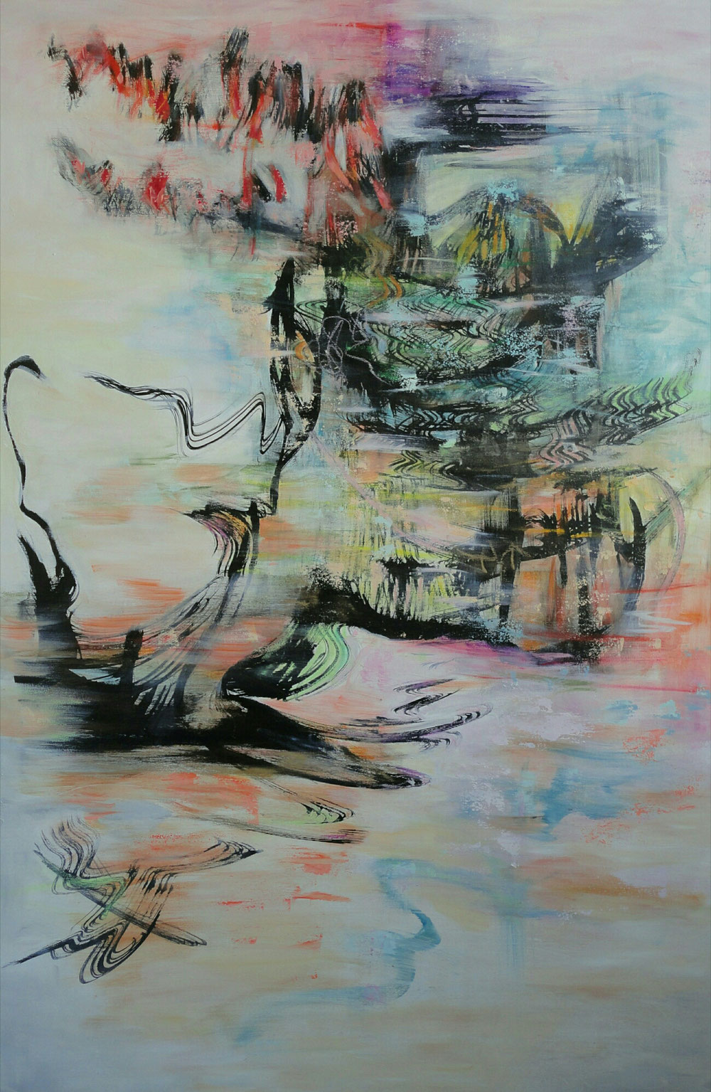 Kingdom of the Dragonfly, 120 x 80, mixed media on canvas / available, inquiries to artleenakr(at)gmail.com