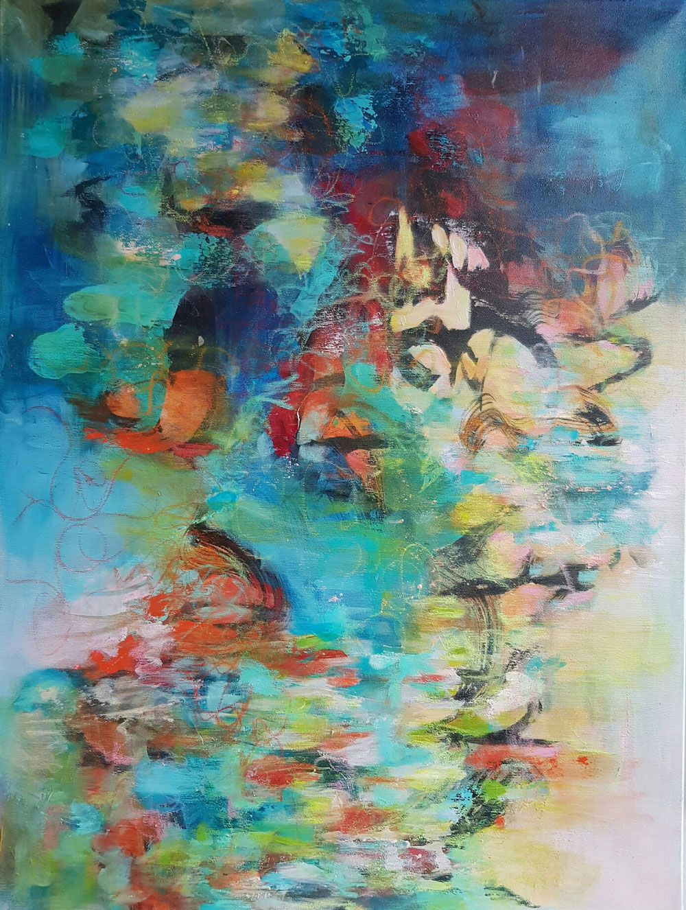 Secret waters, 80 x 60, mixed media on canvas / reserved / www.taidelainaamo.fi