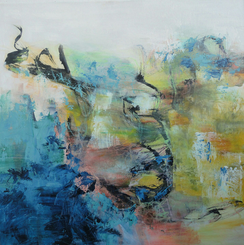 Night escapes, 60 x 60, mixed media on canvas