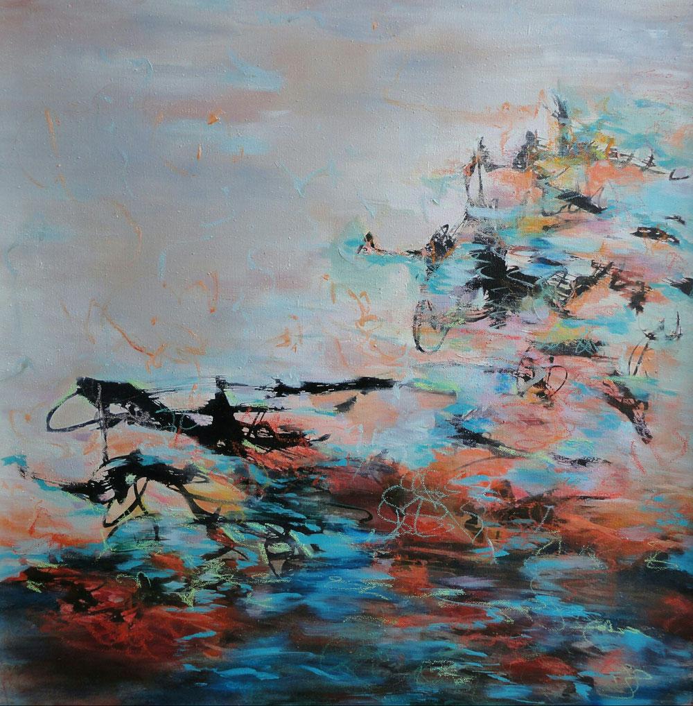 Flood on canvas, 100 x 100, mixed media on canvas / available in www.taidelainaamo.fi