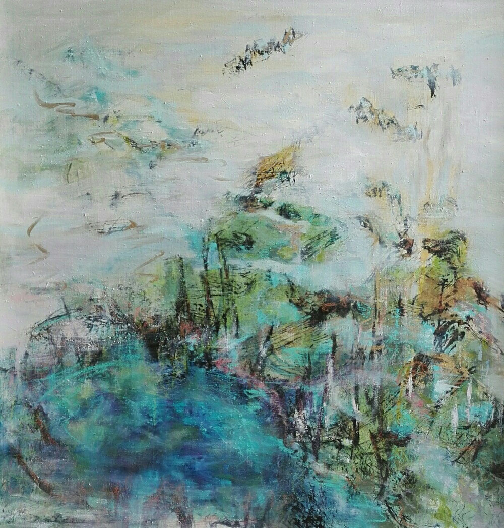 Beginning, 100 x 100, mixed media on canvas