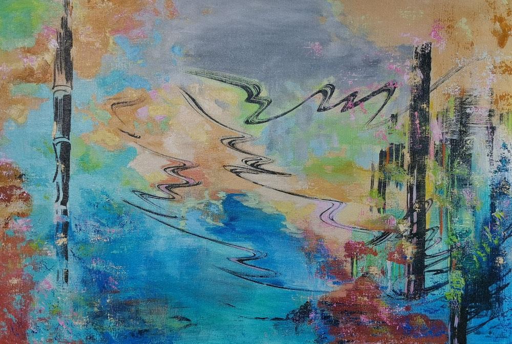 Metsän tuuli, 森の風、Forest wind, 60 x 90 / available from Vantaan taidelainaamo