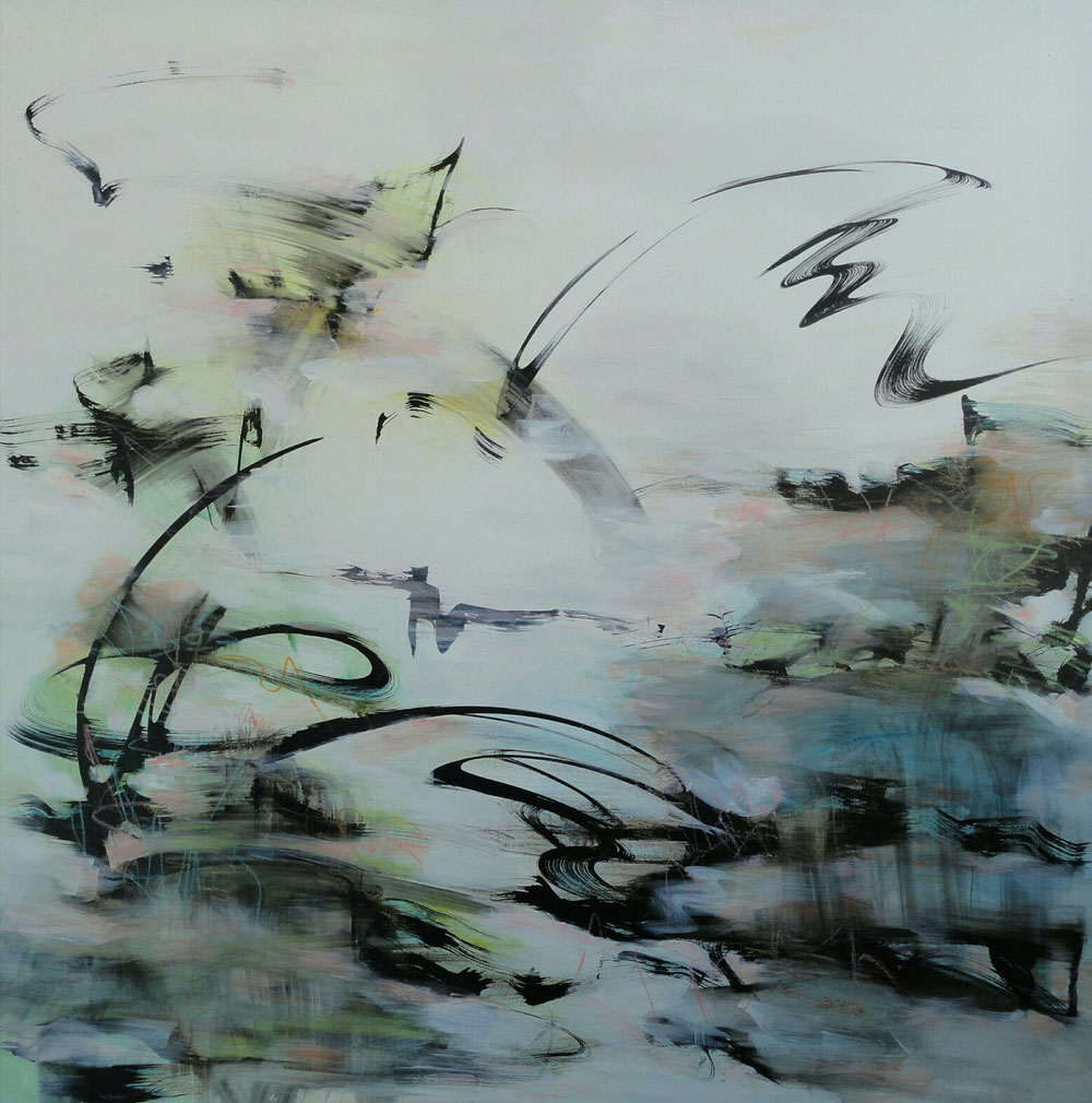 Its windy in the willows, 98 x 98, mixed media on canvas / public collection