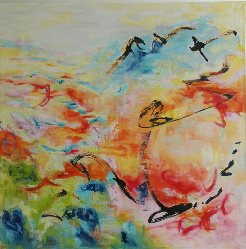Fly with me, 130 x 130, mixed media on canvas