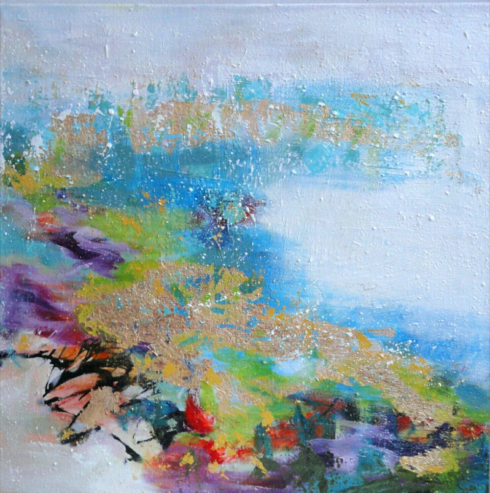 Last winter day, 40 x 40, mixed media.on linen / private collection