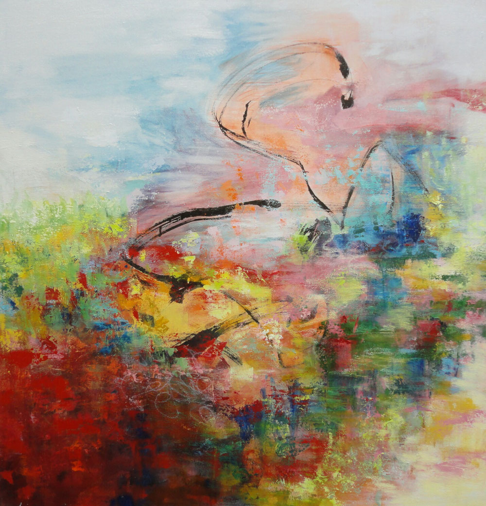 Meadows, 90 x 90, mixed media on canvas / private collection