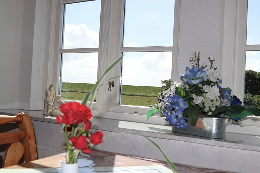 Aussicht und Esstisch in der Ferienwohnung Langeneß
