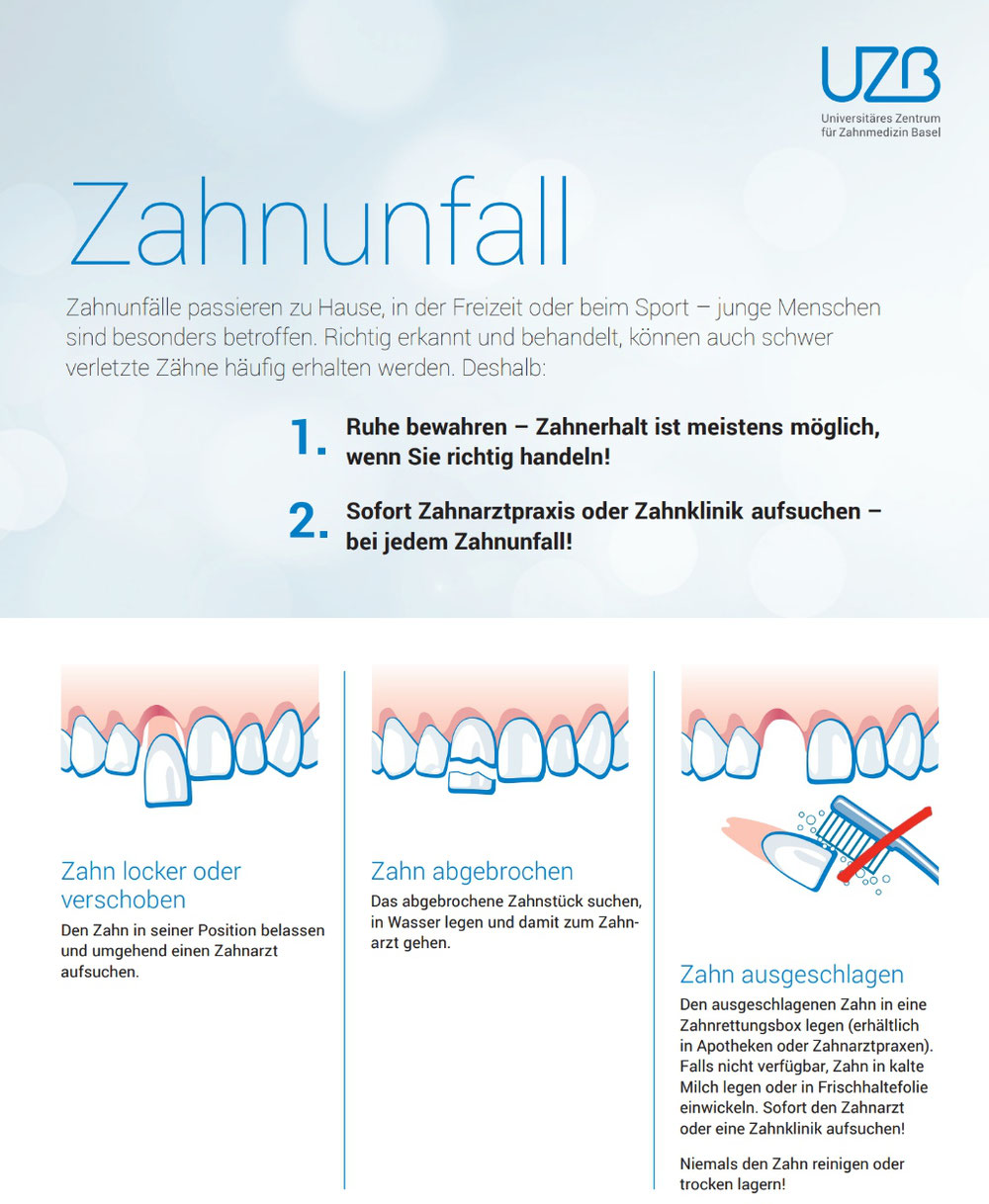 Zahnunfall bleibender Zahn - Poster des Universitären Zentrums für Zahnmedizin Basel
