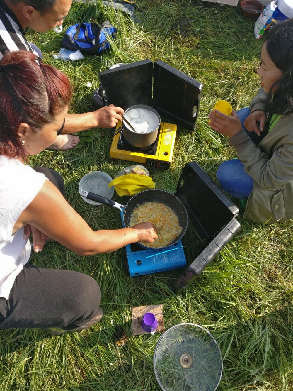 Outdoor Küche auf mongolisch