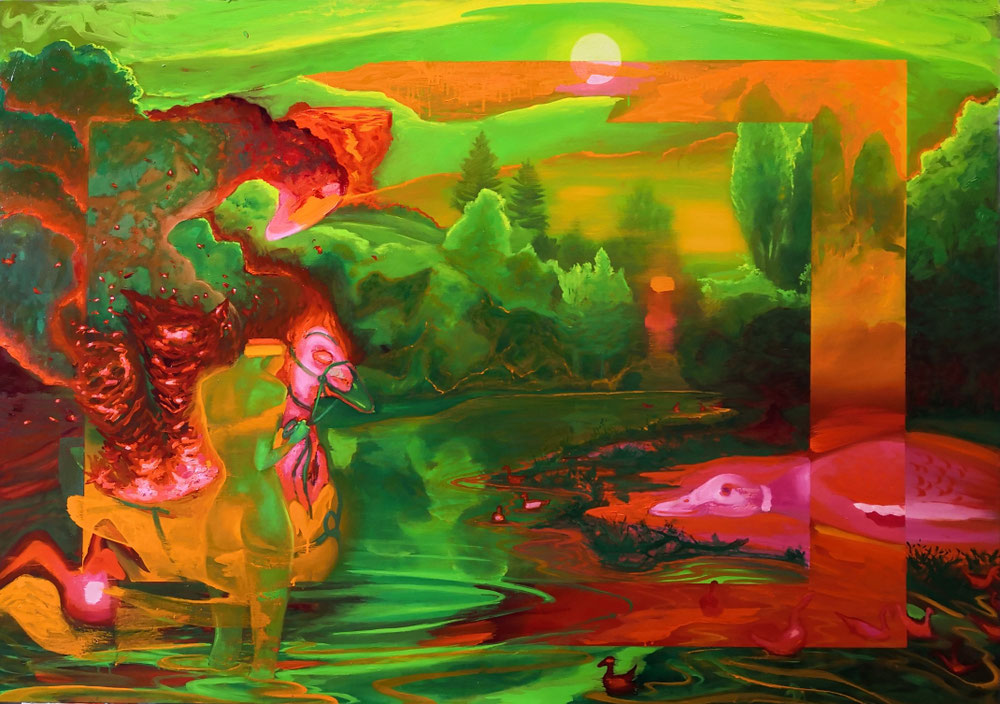 Setting up the scene (the great fire) / oil on canvas / 162 x 114 cm