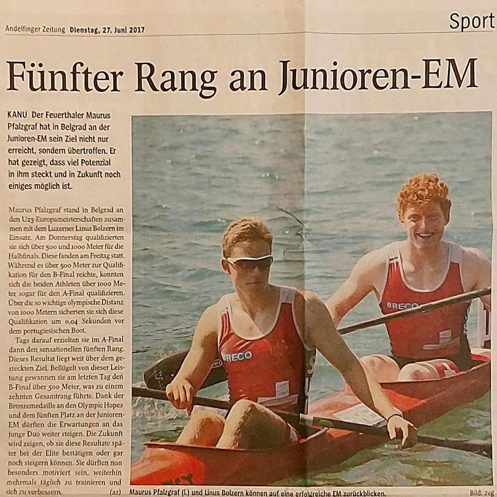 Zeitungsbericht Junioren EM