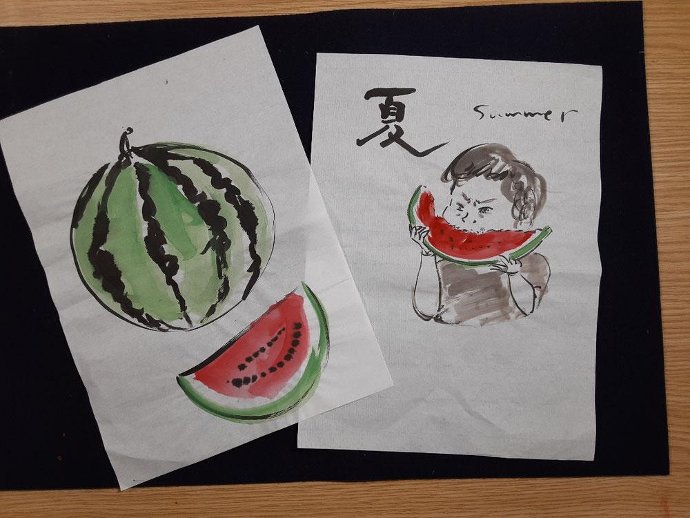 天朗庵入口の作品「8月」。スイカと子どもをモチーフに、模索中です。