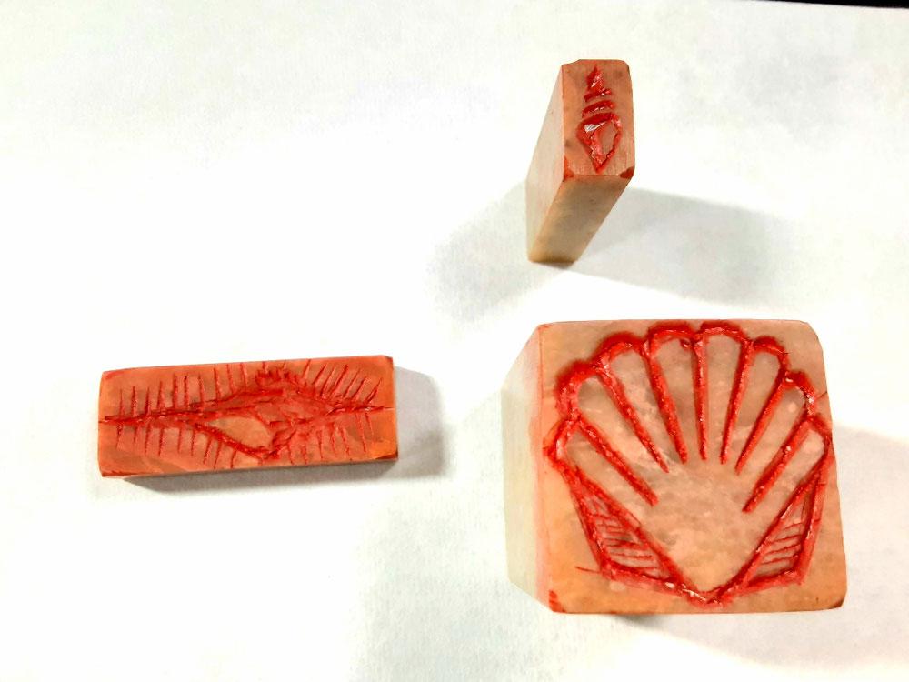 印面(貝殻3種)