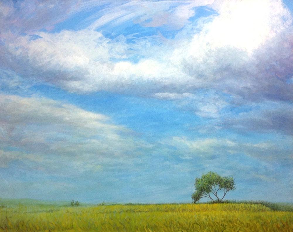 空と樹 2015-09, K.Nishikawa,oil & aqyla,on canvus