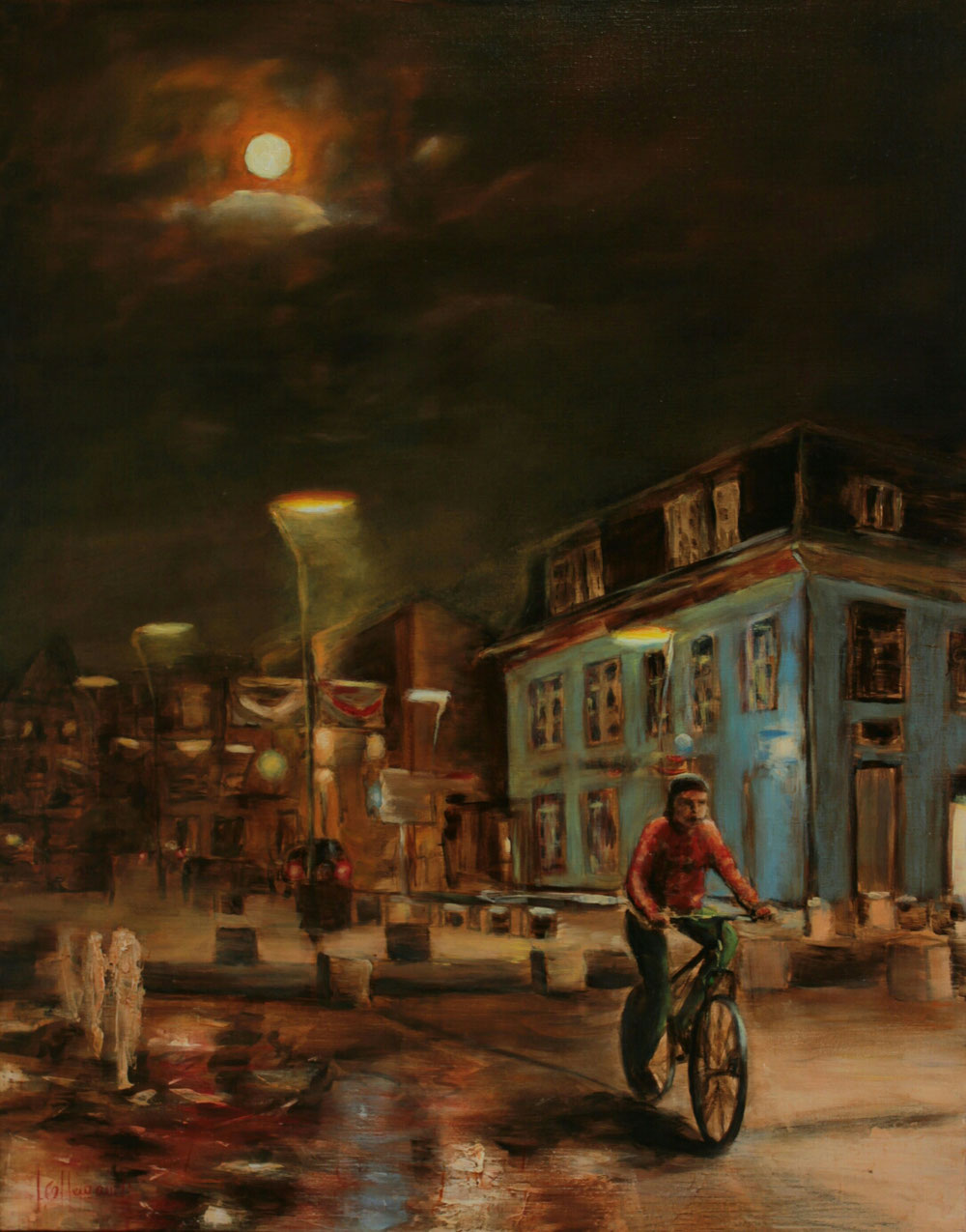 Dans la nuit. Huile sur toile  80 x 100 collection privée