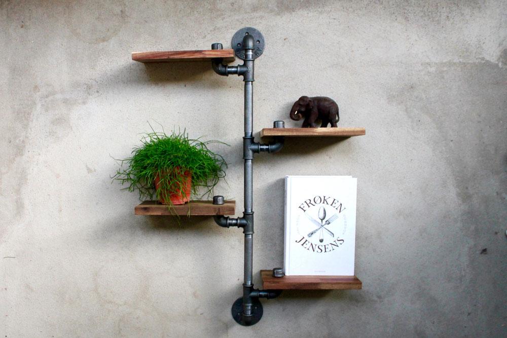 Loft Industrie Rohrregal Wandregal aus Rohren Eisenrohr Regal Hängeregal Urban Vintage Design Freischwebend