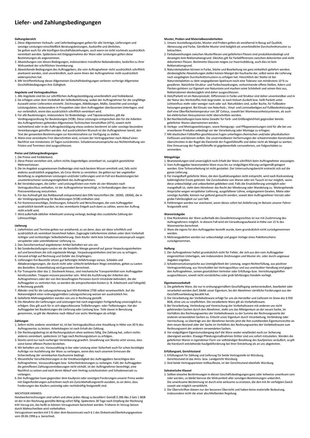 Agb Ds Fliesen Handwerksservice Webseite