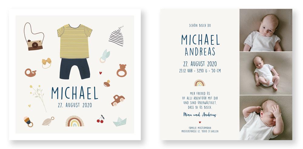 Geburtskarte Babykarte Geburtsanzeige speziell kreativ Schweiz kartendings.ch