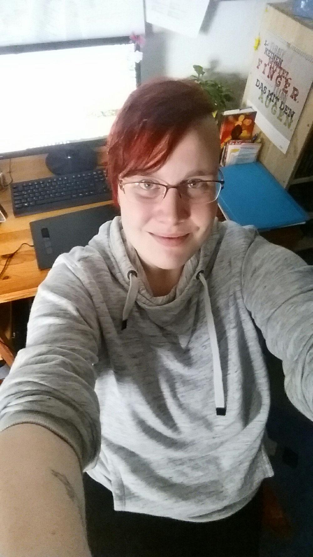 Selfie vom Schreibtisch