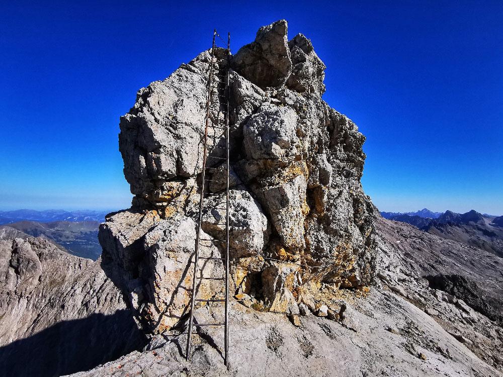 Der Gipfel des Steinschartenkopf inkl. der bekannten Leiter