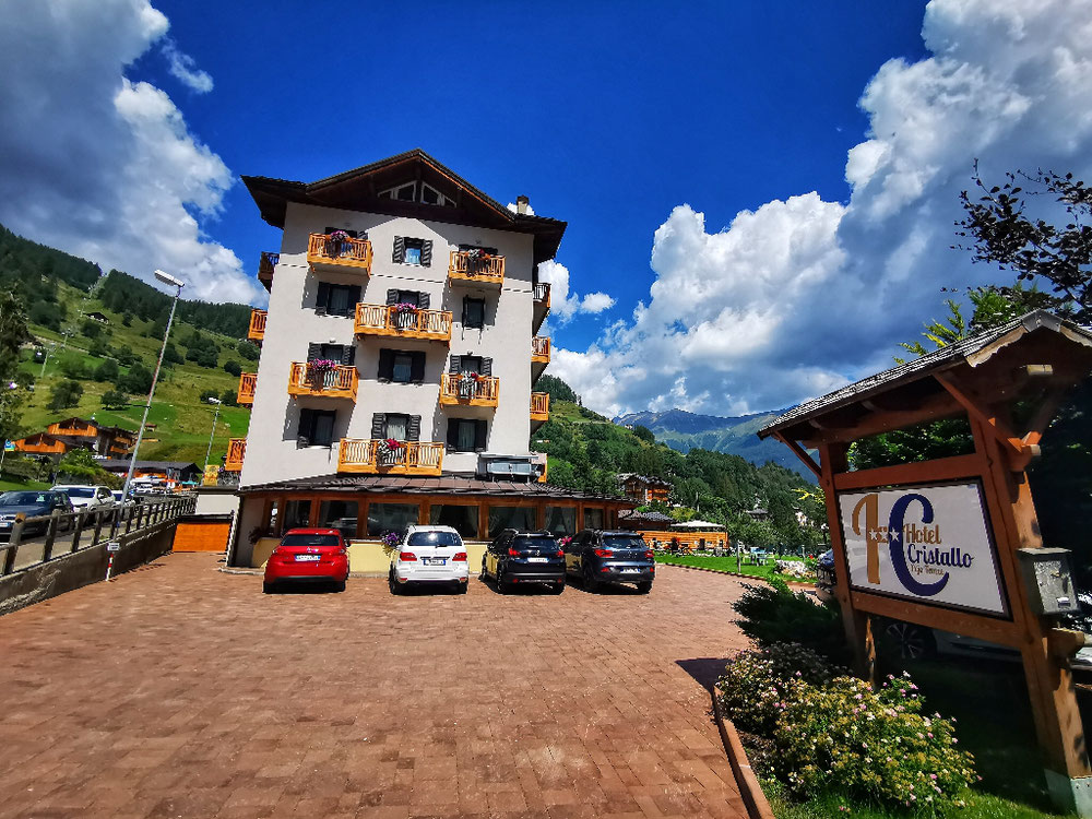 Am Ziel, Hotel Cristallo in Peio Fonti