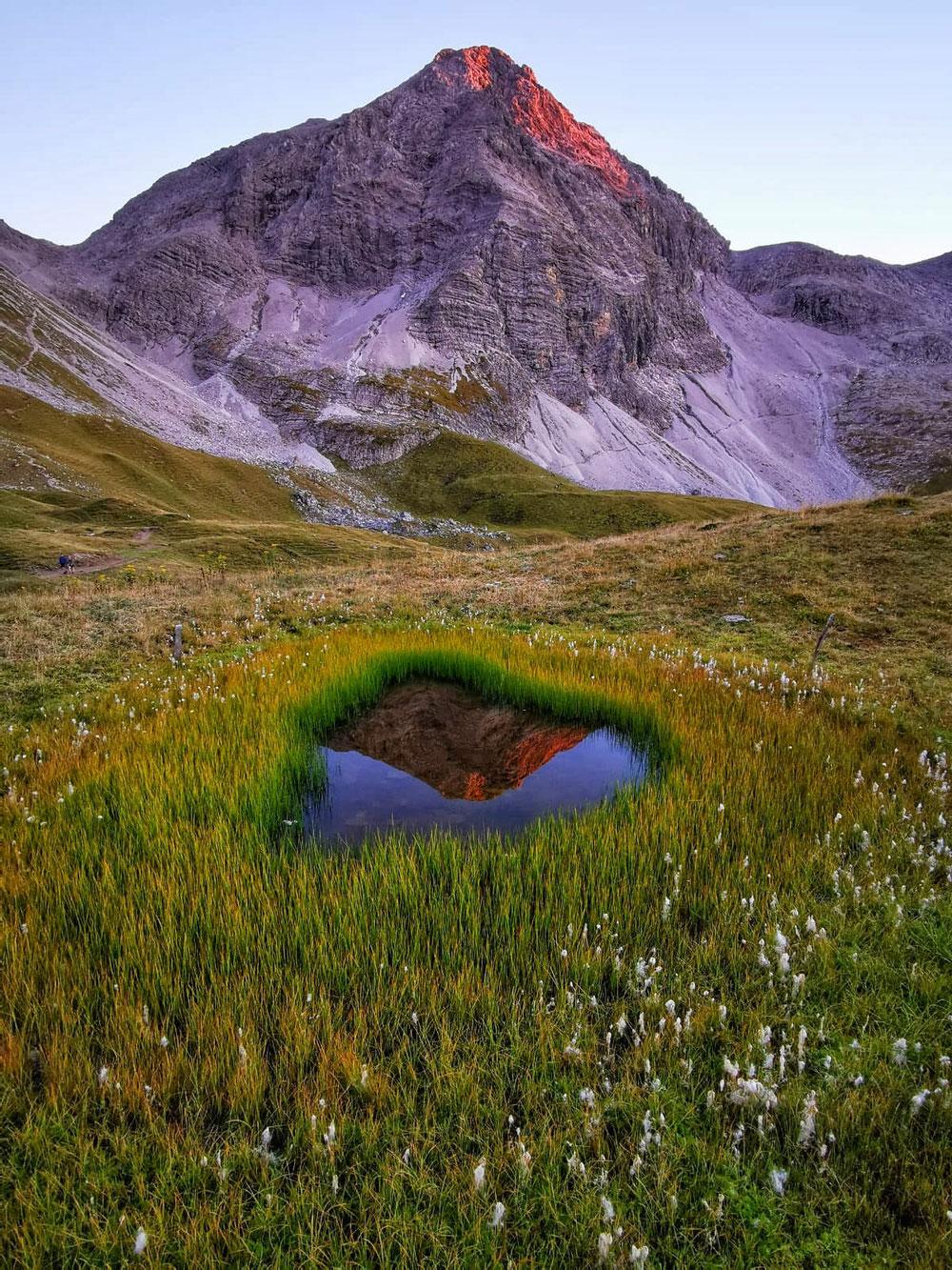 Der Rappenseekopf spiegelt sich in einem Seeauge