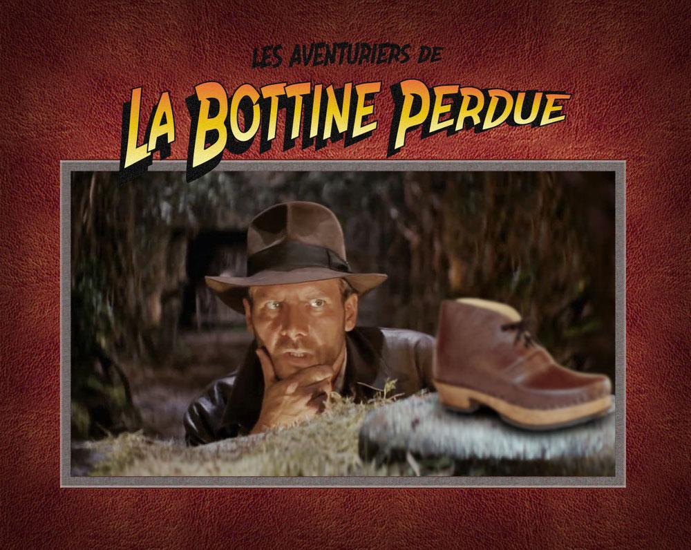 Cette image représente un détournement de l'affiche des Aventuriers de l'Arche Perdue. Là, Indiana Jones est à la recherche de la bottine perdue...