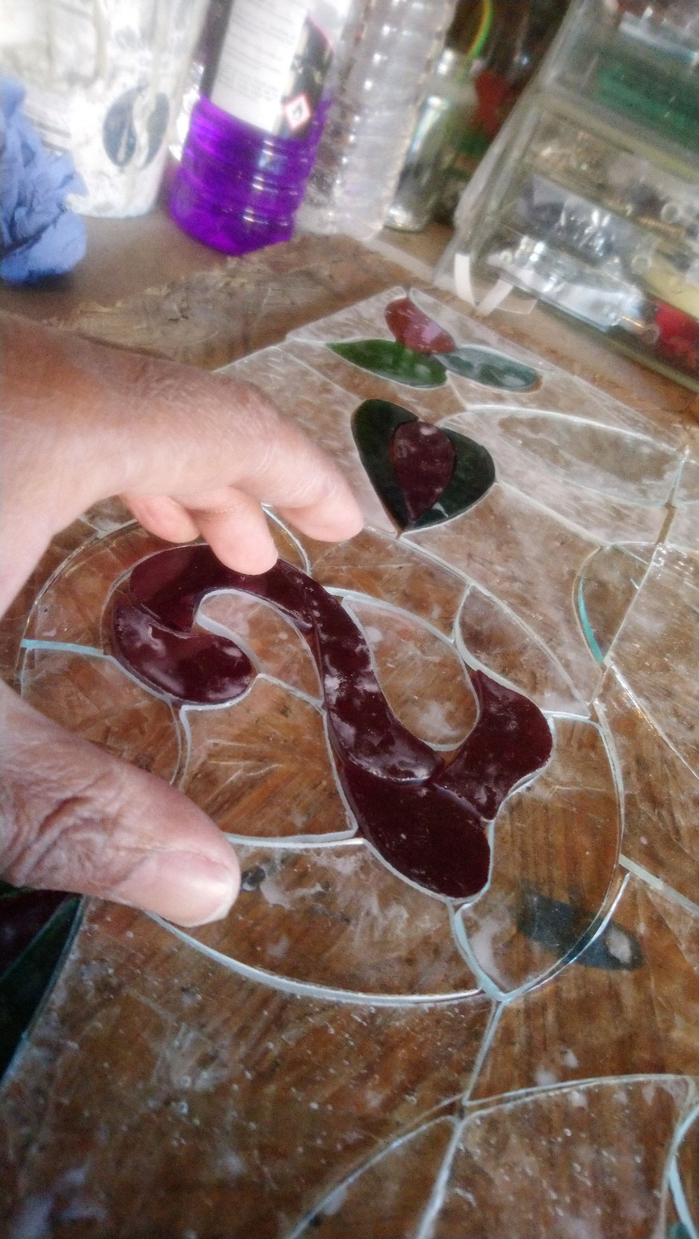 Hand Cut numbers in glass www.rossglassdesigns.com