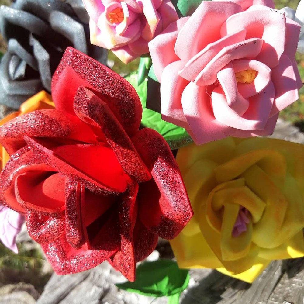 Roses en papier mousse