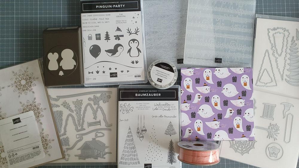 Ganz süßes Stempelset 'Pinguin Party' mit passender Handstanze. Das DSP gibts als Gratisartikel für einen Bestellwert von 60€ in der Sale-a-Bration Broschüre. Superschöne Produktpakete sind wieder dabei mit neuen Formen und Farben