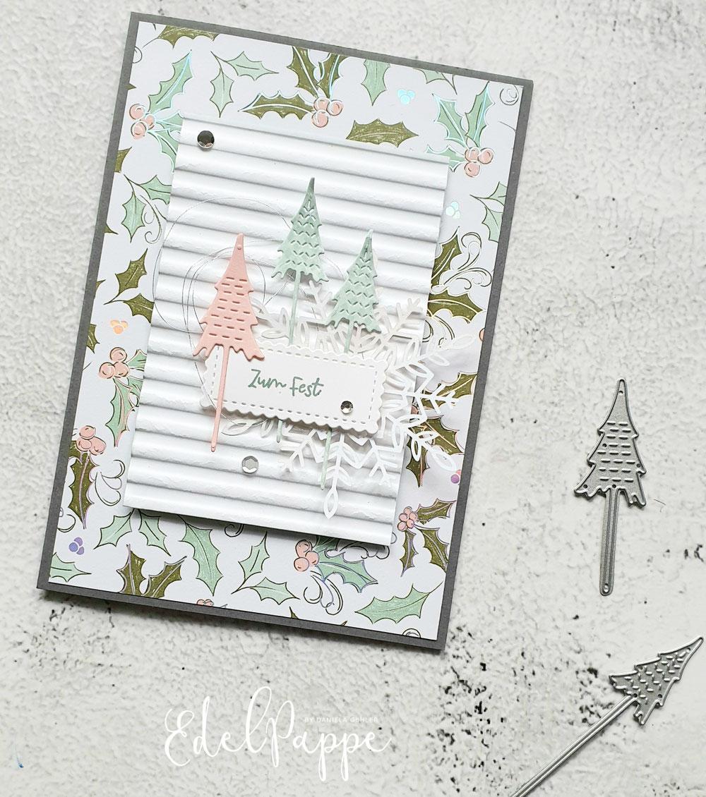 Stempelset 'Baumzauber', Stanzen 'Weihnachtsbäume' und das passende Designerpapier 'Zauber der Feiertage'