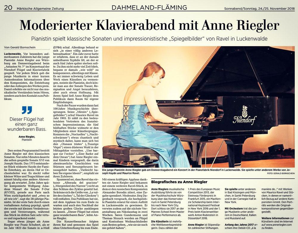 Klavierabend am 22.11.18 in Luckenwalde bei Niendorf