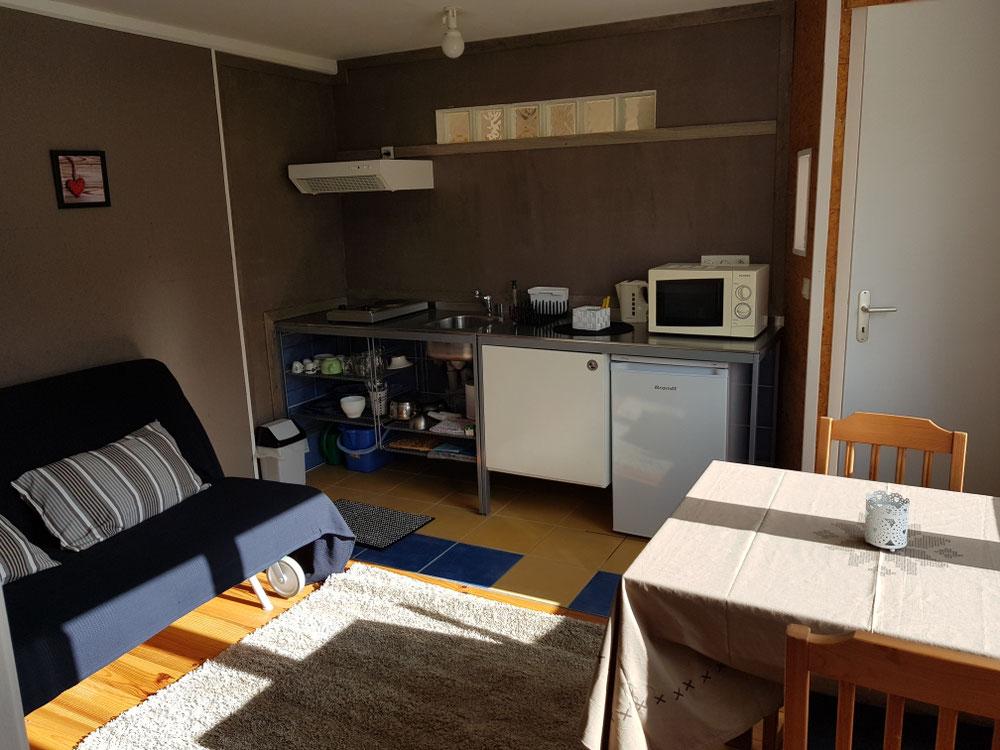 Petite kitchenette dans le salon (on ne peut pas cuisiner... juste réchauffé micro onde) dans le studio