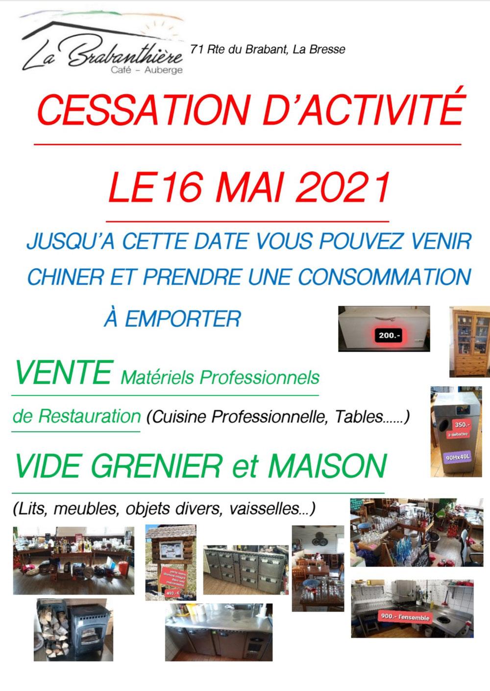 Cessation d'activité le 16 mai