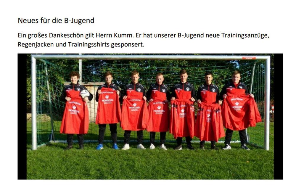 Neue Trainingsanzüge, Shirts und Regenjacken für unsere B Jugend