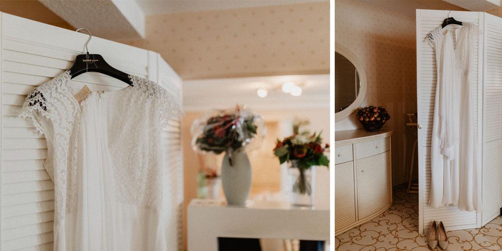 Bild: Brautkleid Kaviar Gauche Ankleiden vor der Hochzeit Getting Ready
