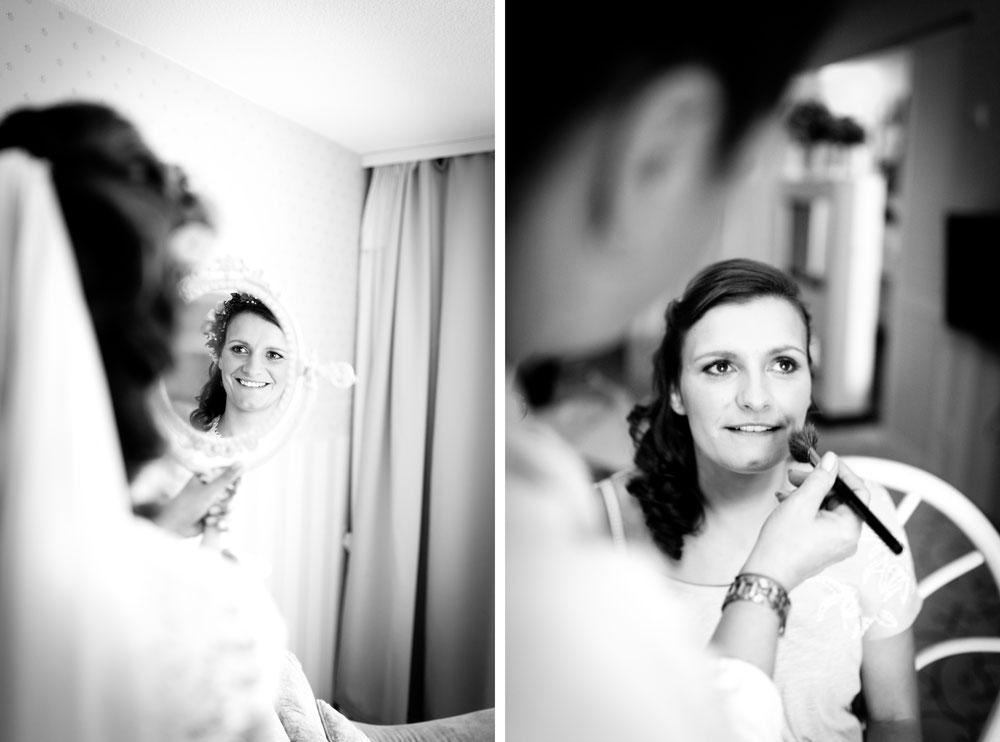 Bild: Braut MakeUP beim Ankleiden vor der Hochzeit Getting Ready Hochzeitsreportage Hochzeitsfotos Hochzeitsfotograf Panoramahotel Oberuckersee Brandenburg