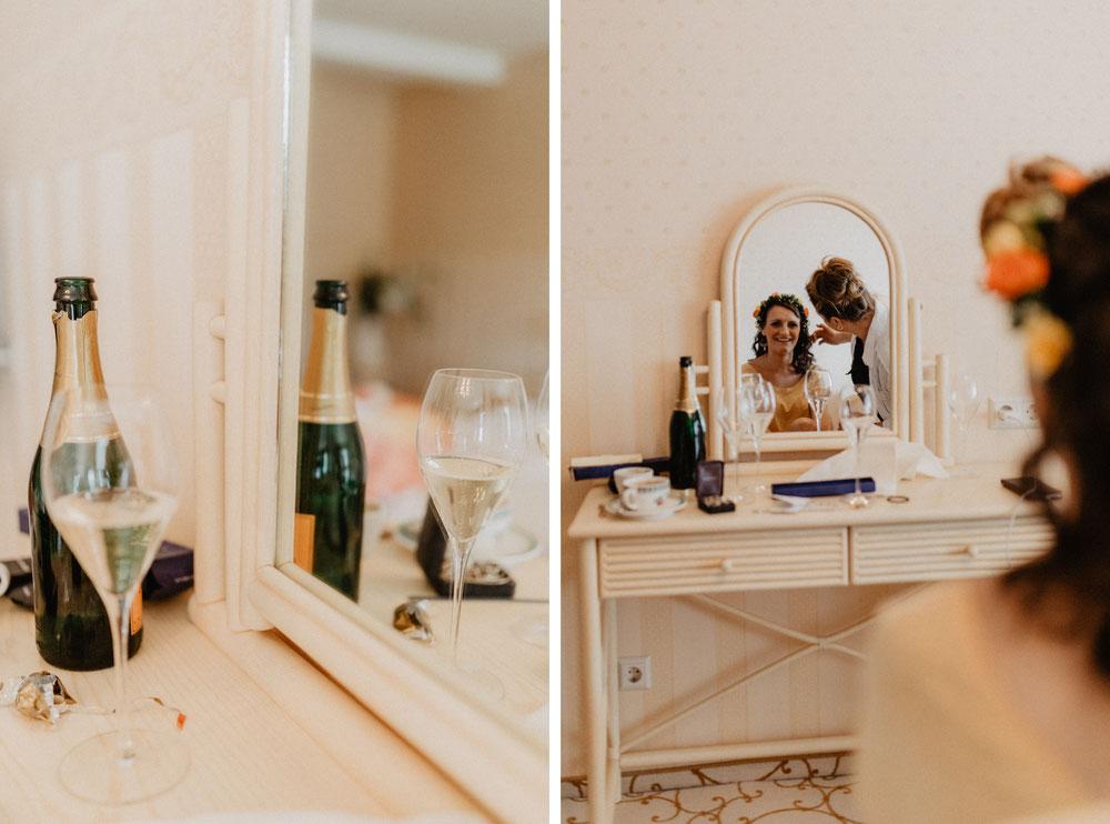 Bild: Braut MakeUp Ankleiden vor der Trauung Hochzeit Getting Ready