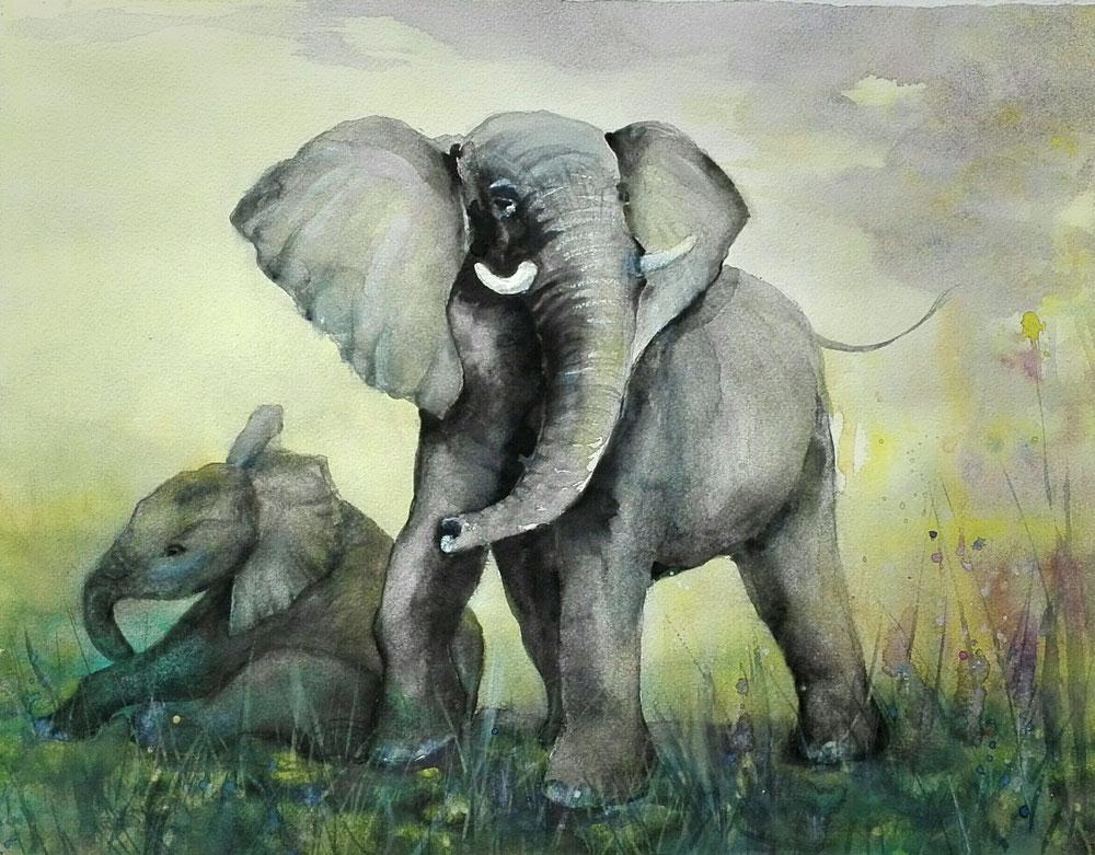 "aquarell - ""elefant mit jungem"""