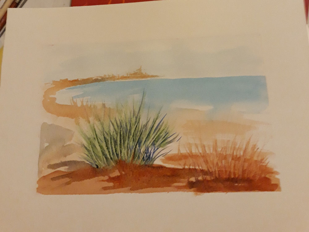 Dipingere il paesaggio sullo sfondo con velature e leggeri tocchi di colore