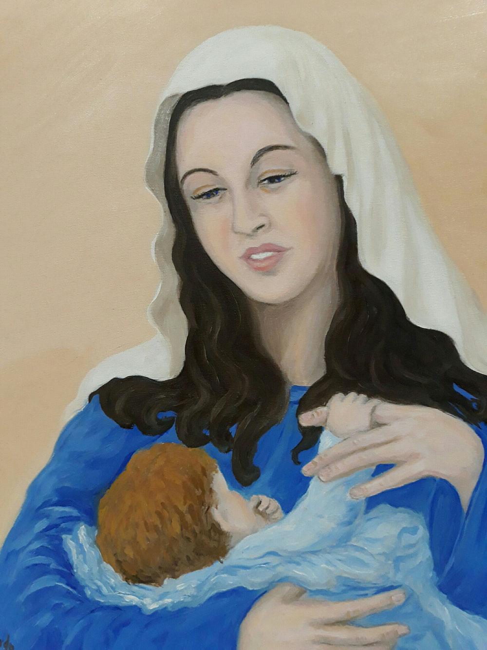 Olio su tela - Madonna con bambino
