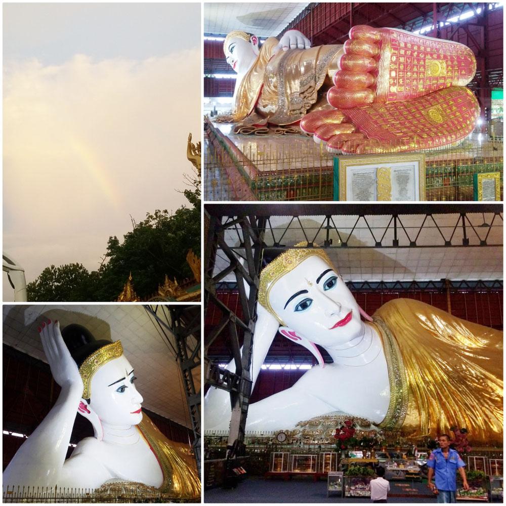 寝釈迦像。パゴダを出ると虹が✨✨