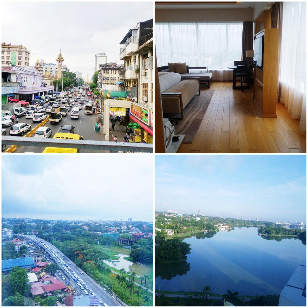 ヤンゴンの街並み。泊まったホテルからの景色。