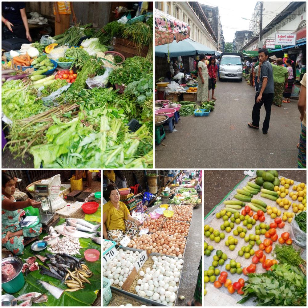 カラフルな野菜が並ぶ市場