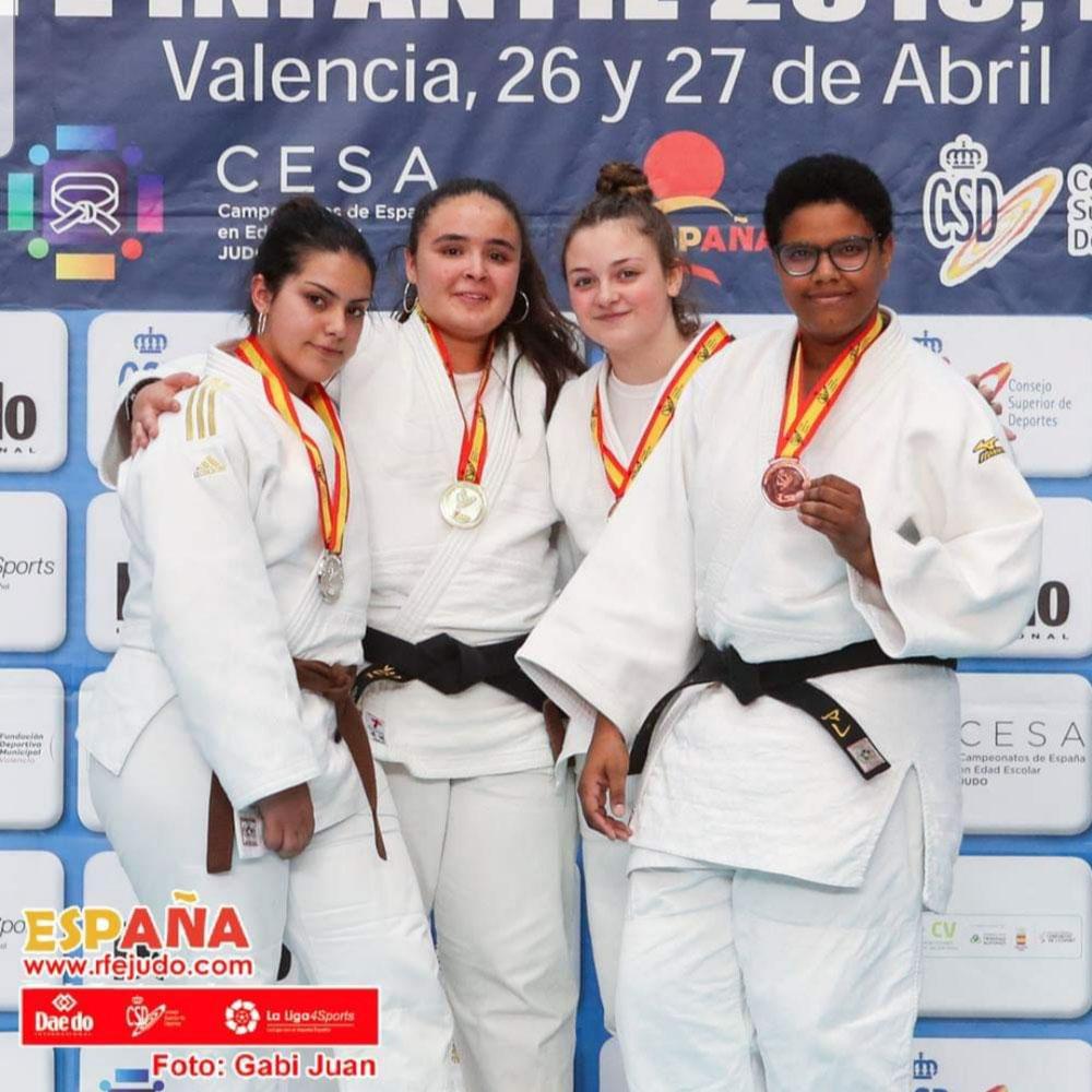 Pódium del Campeonato de España cadete 2019 en la categoría de más de 70kg