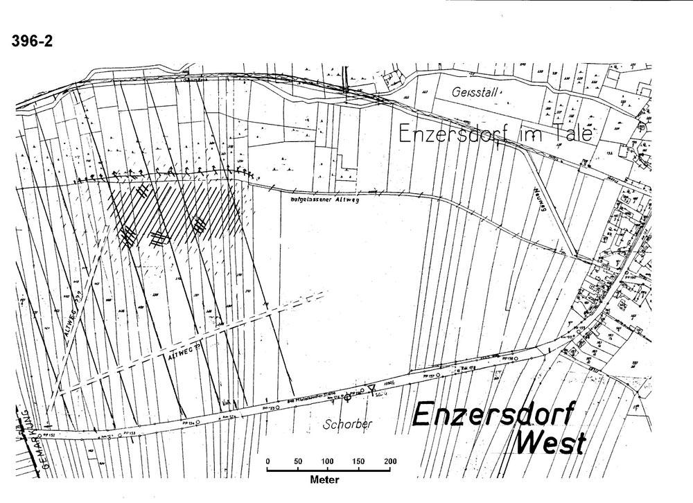 """""""Enzersdorf West"""" lautet der archäologische Arbeitstitel dieser Siedlung westlich von Enzersdorf - der Name Langenthal gilt als wahrscheinlich (Skizze von Kurt Bors)"""